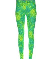 legging deportivo rayas neones color verde, talla s
