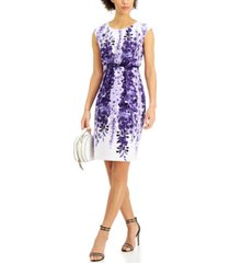 connected petite printed belted sheath dress