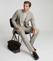 reiss slice - slim fit pinstripe trousers in oatmeal, mens, size 38