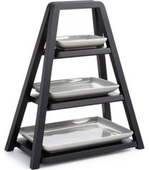 hotel collection modern wood 3-tier server with porcelain plates, created for macy's