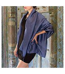 rayon and silk blend shawl, 'elegance in indigo' (thailand)