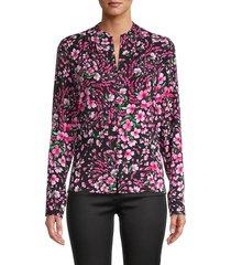 calvin klein women's floral-print top - cerise multicolor - size xs