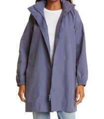 women's eileen fisher stand collar hidden hood organic cotton blend coat, size x-large - blue