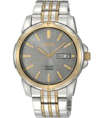 seiko watch, men's solar two tone stainless steel bracelet 39mm sne098