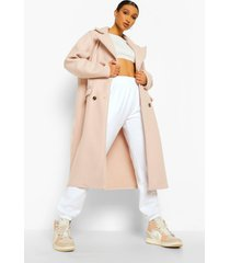 oversized nepwollen jas met naaddetail, stone