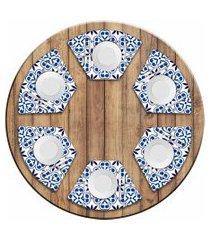 jogo americano love decor  para mesa redonda wevans ladrilhos abstratos  kit com 6 pçs