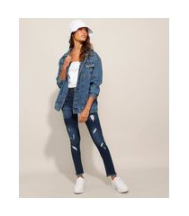 calça cigarrete push up jeans destroyed cintura super alta sawary azul médio