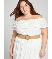 lane bryant women's wide woven stretch belt 26/28 tan
