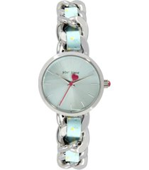 betsey johnson women's woven floral silver-tone and floral printed polyurethane bracelet watch 30mm