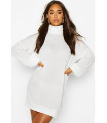 slouchy roll neck sweatshirt dress, off white