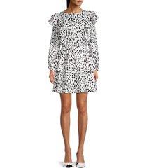 stellah women's print ruffle fit-&-flare dress - animal print - size l