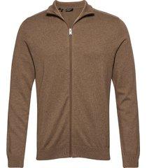 slhberg full zip cardigan b stickad tröja cardigan brun selected homme