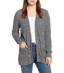 women's caslon marled cardigan sweater, size medium - blue