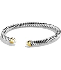 david yurman cable classics bracelet with semiprecious stones & 14k gold, 5mm, size medium in pearl at nordstrom