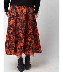 kenzo women's printed elasticated midi skirt - medium orange - eu42/uk12