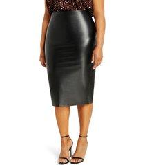 plus size women's eloquii faux leather column skirt