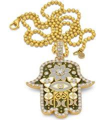 large army green hamsa pendant