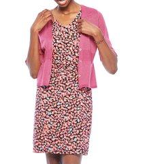 women's nic+zoe derive short sleeve linen blend cardigan, size x-small - pink