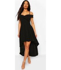 skater jurk met bandjes, losvallende zoom en hartvormige hals, zwart