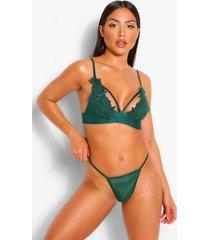 applique strapping bralette, emerald