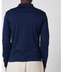 polo ralph lauren men's interlock long sleeve polo shirt - french navy - l