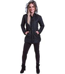 jaqueta casaco sobretudo acolchoado acinturado com capuz removãvel acinturado preto - preto - feminino - algodã£o - dafiti