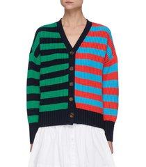 'essex' colourblock stripe cotton blend cardigan