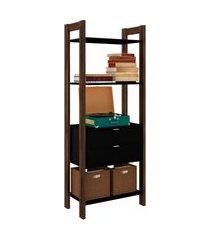 armário alto multiuso, tecno mobili, 3 p preto/marrom