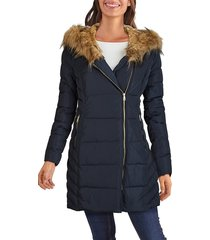 cole haan women's faux fur-trim hooded quilted jacket - navy - size xs