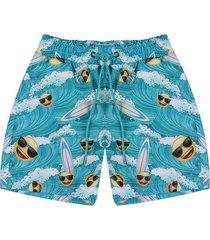 pantaloneta de baño multicolor emoji en tejido plano  emol06