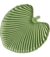 sousplat leaves em cerâmica 37cm scalla verde