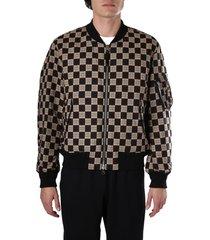 burberry check print cotton bomber jacket