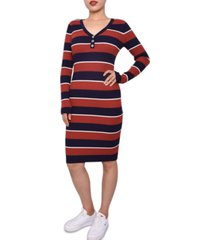 planet gold juniors' striped henley dress