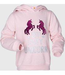poleron con gorro lentejuela rosado family shop