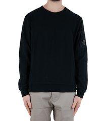 diagonal fleece lens crew sweater - black