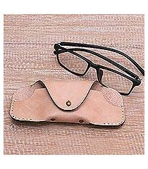 leather eyeglasses case, 'simple parchment' (indonesia)