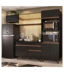 cozinha completa madesa reims 260001 com armário e balcão preto/rustic preto/rustic