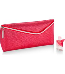 receive a free mini la vie est belle en rose and clutch pouch with any $80 lancome purchase