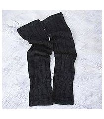 100% alpaca arm warmers, 'black braids' (peru)