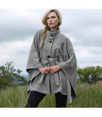 luxury tweed belted wool cape