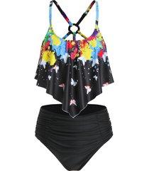 paint splatter butterfly print ruched tankini swimwear