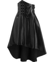 grommet and d-ring detail high low vinyl gothic skirt