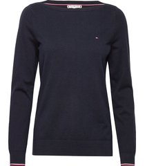 boat neck sweater stickad tröja blå tommy hilfiger