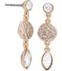 rachel rachel roy gold-tone crystal & hammered disc drop earrings