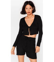 womens let knit be tie cardigan and shorts set - black