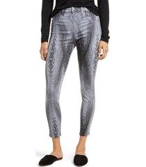 women's hue python print denim leggings, size x-large - black