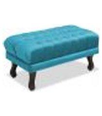 puff decorativo retangular julian azul velur js móveis