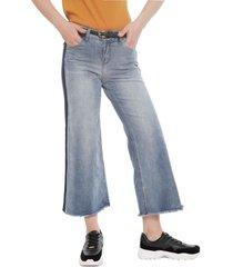 jeans io culotte azul - calce holgado