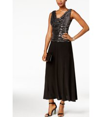 r & m richards metallic sequined a-line dress