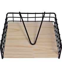 porta guardanapo decorglass suporte de ferro 18x17,5cm
